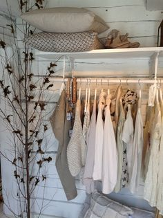 Clothing storage at Biskopsgarden Makeshift Closet, Lovely Shop, Cottage Design, Shop Interior Design, Closet Space, Closet Storage, Fashion Room, White Walls, Decoration
