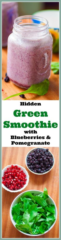 This hidden green smoothie is healthy and delicious. With the goodness of spinach, blueberries and pomegranate it's the perfect meal on the go. #breakfast #vegetarian #noaddedsugar #glutenfree