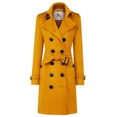 Burberry Sandringham Fit Cashmere Trench Coat ($2,595) ❤ liked on Polyvore featuring outerwear, coats, jackets, burberry, slim fit trench coat, belted coat, orange coat and slim coat