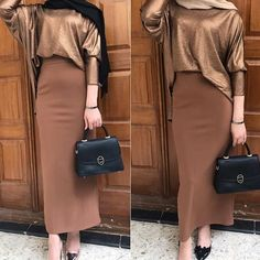 Black hijab or Beige on this outfit? Long Skirt Fashion, Modest Fashion Hijab, Modern Hijab Fashion, Casual Hijab Outfit, Hijab Fashion Inspiration, Muslim Fashion, Fashion Outfits, Hijab Chic, Modest Dresses