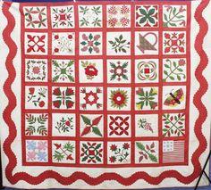 Civil War Quilts: Appliqued Sampler: The Typical Civil War Quilt?