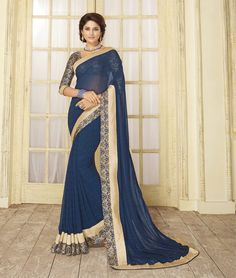 Blue Georgette Printed Saree With Blouse 79476