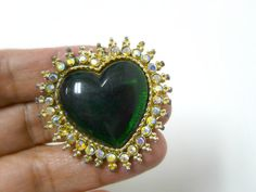 green heart rhinestone studded brooch by june22 on Etsy