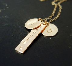 Personalized Gold Bar Necklace, Initial Necklace, Nameplate Necklace, Engraved Necklace on Etsy, $70.00