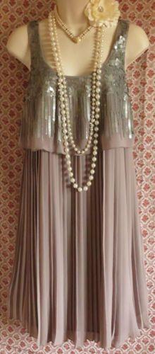 Next Signature Grey Silver SEQUIN1920's Style Flapper Gatsby Dress UK10 BNWT | eBay