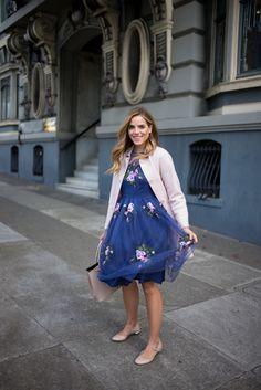 blazer with floral dress