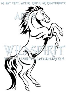 rearing horse tribal design by wildspiritwolf rearing horse tribal ...