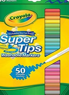 Crayola 50 Washable Supertips CRAYOLA-Super Tips Washable Markers. Super Tips Markers have a unique, durable tip thats smooth, not scratchy. Use the side for coloring in large areas and the tip for a (Barcode EAN = 0085478601317) http://www.comparestoreprices.co.uk/december-2016-week-1/crayola-50-washable-supertips.asp