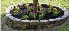 Stone Raised Flower Bed