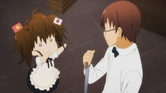 Awhh... Popura-chan, has Satou-kun been playing with your hair again? x'D