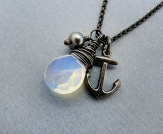 nautical necklace charm necklace anchor by SharonClancyDesigns