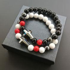 White jadeit, black ónyx, hematit, red jadeit Swarovski Bracelet, Beaded Bracelets, Couple Bracelets, Black Onyx, Red, Jewelry, Jewlery, Jewerly, Pearl Bracelets