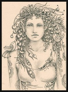 """""""Fedelm"""" - Irish faery prophetess to Queen Maeve (Medb) Maeve:  The golden bird on her shoulder is whispering magical knowledge into her ear."""