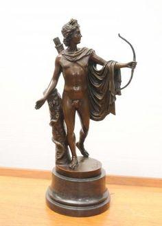 Italian Bronze Apollo Archer Statue Bow Arrow