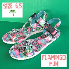 Flamingo Fun Unique Sandals 6.5 NEW Feel like every day is a vacation in these Super cute & super fun flamingo and palm trees green & pink twill strap sandals by SO. Adjustable ankle strap and padded footbed provide secure fit and comfort. NEW 6.5⛱⛱⛱⛱⛱⛱⛱⛱ SO Shoes Sandals