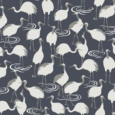 Highland Dunes The beautiful cranes of Japan, synonymous with long life, inspire this elegantly silhouetted sedge of beautiful birds in a pattern alive with modern colour and metallic in pattern Winter Cranes. Navy Wallpaper, Metallic Wallpaper, Embossed Wallpaper, Wallpaper Panels, Blue Wallpapers, Wallpaper Roll, Pattern Wallpaper, Print Wallpaper, Computer Wallpaper