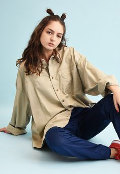 90's retro minimalist beige oversized denim Dads shirt | Vintaholic | ASOS Marketplace