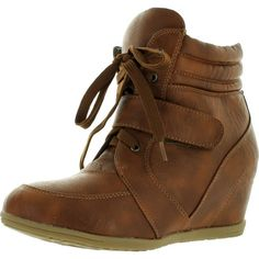 Reneeze Womens Beata-01 Wedge Sneaker Booties Camel 8 ($34) ❤ liked on Polyvore featuring shoes, sneakers, camel sneakers, wedge sneakers, wedge trainers, wedge sneaker shoes and wedged sneakers