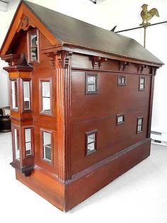 Important Rare 1800's Antique Massive Cabinet American Doll House Museum Quality