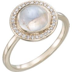 14K Rose Rainbow Moonstone & 1/8 CTW Diamond Ring #MyStullerStyle pg# 312