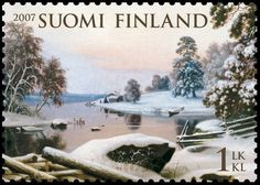 Winter Landscape, Haminalahti is the Most Beautiful Stamp of the Year 2007 Art Chinois, Rare Stamps, Winter Landscape, Stamp Collecting, Science And Nature, Art World, Postage Stamps, Nostalgia, Beautiful