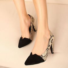 Pointed Toe Patchwork Serpentine Shape Black & Apricot High Heels