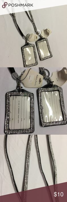 2 Lanyard ID Holder Badges w/ Neck Strap Sparkly Set of 2 Lanyard ID or Badge Holders with Neck Strap ~ Holds a Gate Pass or could be a Credit Card Holder ~ Faux Leather Black Strap with Shiny Silver Color Square Beads ~ NEW with Tags Accessories Key & Card Holders
