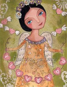 Impresión pintura mixta te amo Angel Mix de medios por Evonagallery