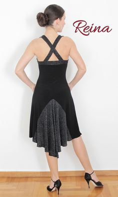 Black tango dress asymmetrical with silver strass by reinatango