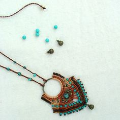 Micro macrame necklace desert queen with by MammaEarthCreations
