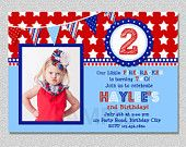 4th of July Birthday Invitation , Red White and Blue Birthday Invitation Boys Girls