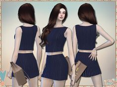 A striped sleeveless top and mini skirt, suitable for all occasions! 4 different colors.  Found in TSR Category 'Sims 4 Female Clothing Sets'