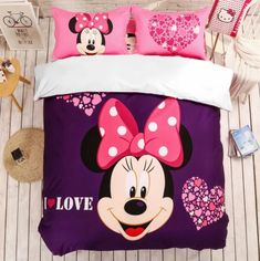 MINNIE MOUSE FULL SIZE DUVET COVER WITH TWO PILLOW CASES 3 PC SET Minnie Mouse Bedding, Disney Bedding, Full Size Duvet Cover, Mermaid Bedding, Girls Duvet Covers, Kids Bedding Sets, Soo Jin, Kids Blankets, Duvet