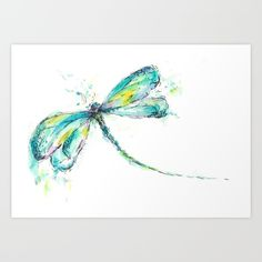 Inspiring all kinds of uses...watercolor, canvas, and face painting. All the colors of a peacock feather are added to this watercolor dragonfly.