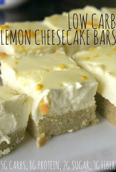 Low Carb Lemon Cheesecake Bars made with cream cheese, lemon, almond flour, and baked to perfection! Low carb dessert for healthy life Low Carb Deserts, Low Carb Sweets, Healthy Desserts, Healthy Food, Desserts Keto, Sugar Free Desserts, Just Desserts, Low Carb Keto, Low Carb Recipes