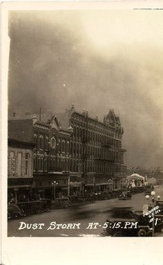 Vintage postcard showing the dust storm in Garden City in 1935.  (courtesy of Alvena King)