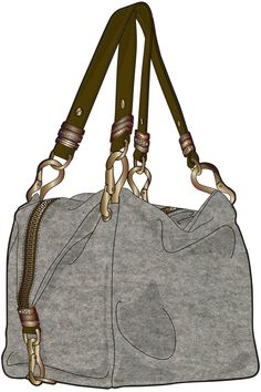 grey handbag with brown handles