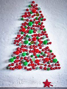 Hold me Back: IKEA Christmas Decorations Have Landed! Wall Christmas Tree, Ikea Christmas, Creative Christmas Trees, Modern Christmas, Christmas Tree Decorations, Christmas Holidays, Christmas Crafts, Xmas Tree, Christmas Ideas