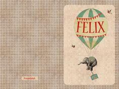 Geboortekaartje Felix - dubbel kaartje - voorkant en achterkant - Pimpelpluis - https://www.facebook.com/pages/Pimpelpluis/188675421305550?ref=hl (# olifant - olifantje - vintage - retro - lief - schattig - dieren - klavertje vier - vogel - valies - Afrika - Afrikaans - origineel)