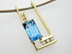 blue topaz and diamonds---Custom Necklace Design - Naples, Fort Myers, Southwest Florida - Mark Loren Designs
