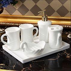 Highgrade 5 Pieces Ceramic sanitary Ware Bathroom Accessories Set Mouthwash Cups Includes Liquid Soap or Lotion Dispenser  Premium Metal Pump Toothbrush Holder Tumbler Soap Dish White