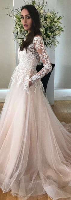 Alba wedding dress by Kelly Faetanini in Blush // Beaded, embroidered long sleeve illusion ombre ball gown with horsehair hem and pockets #weddingdresses #weddinggowns #bridaldress #bride #bridal #bridalgown #brides #weddings