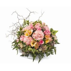 Mother's Day flowers: 'Duchess' - An all round arrangement in floral foam containing seasonal flowers and foliages. Beautiful Bouquet Of Flowers, Fresh Flowers, Floral Bouquets, Floral Wreath, Get Well Soon Flowers, Container Design, Mothers Day Flowers, Floral Foam, Seasonal Flowers