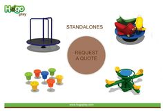 Standalones - Swings, climbers, riders, merry go rounds other independent play-equipment are designed to provide physical challenges. #playground #standalone #playgroundequipment  Request a Quote Today! Telephone: 081979 29666 Email: info@hugoplay.com Browse our full #Product Catalog - http://hugoplay.com/catalog/