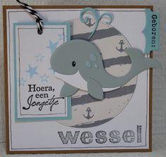 Gemaakt door Joke # Babykaart met Eline's whale, - Wessel geboren