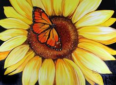 Sunflower and Butterfly Clip Art | Sunflower Paintings