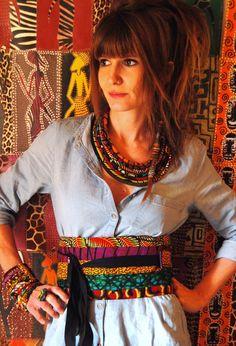 "Ceinture ""OBI"" en patchwork de wax/tissu africain African Print Fashion, Tribal Fashion, Diy Fashion, Hippie Style, My Style, African Fabric, African Dress, Velvet Dress Designs, Boho"
