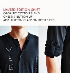 Vegan Clothing Men & Women Black 3/4 Sleeve Shirt by lamotif01 - StyleSays