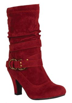 "Red suede short boot with 3"" heel. Comes in black, chestnut, gray, and red. $19.50"