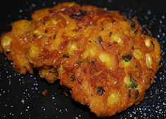 Chick Pea, Pumpkin & Cilantro Fritters-I didn't have much luck frying so I baked the mixture at 350.  I really liked the taste.